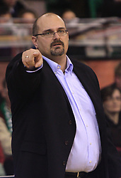 Coach of Olimpija Aleksandar Dzikic at basketball match of 6th Round of Group C in Euroleague between KK Union Olimpija and DKV Joventut, on December 4, 2008 in Arena Tivoli, Ljubljana, Slovenia. Union Olimpija : DKV Joventut 65:86. (Photo by Vid Ponikvar / Sportida)