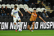 Leeds United midfielder Mateusz Klich (43)  and Hull City defender Eric Lichaj (2) during the EFL Sky Bet Championship match between Hull City and Leeds United at the KCOM Stadium, Kingston upon Hull, England on 2 October 2018.Photo. Ian Lyall