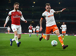 October 31, 2018 - London, England, United Kingdom - London, UK, 31 October, 2018.L-R Shkodran Mustafi of Arsenal and Blackpool's Harry Pritchard.During Carabao Cup fourth Round between Arsenal and Blackpool at Emirates stadium , London, England on 31 Oct 2018. (Credit Image: © Action Foto Sport/NurPhoto via ZUMA Press)