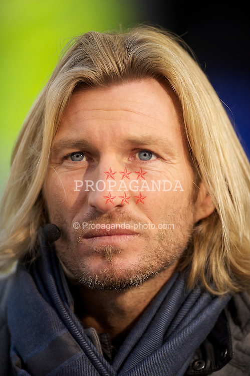LIVERPOOL, ENGLAND - Saturday, January 29, 2011: Derby County player Robbie Savage, working as a pundit for ESPN, during the FA Cup 4th Round match between Everton and Chelsea at Goodison Park. (Photo by David Rawcliffe/Propaganda)