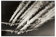 B-17s with contrails, aerial WWII