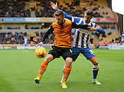 James Henry and Joe Bennett during the Sky Bet Championship match between Wolverhampton Wanderers and Brighton and Hove Albion at Molineux, Wolverhampton, England on 20 December 2014.