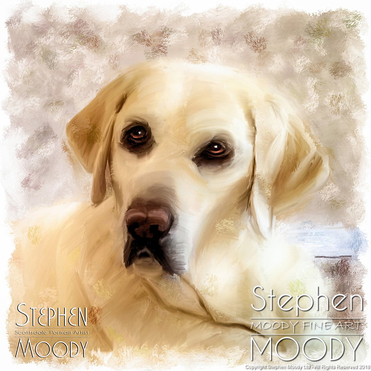 "Portraits of dogs, cats, horses and etc that have passed on from this life.  Artist Stephen Moody will take your snap shots and create a 10x10"" mixed media portrait on watercolor paper for you."