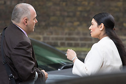 Downing Street,  London, June 27th 2015. Deputy Chairman of the Conservative Party Robert Halfon and Employment Minister Priti Patel in conversation after leaving the first post-Brexit cabinet meeting at 10 Downing Street.