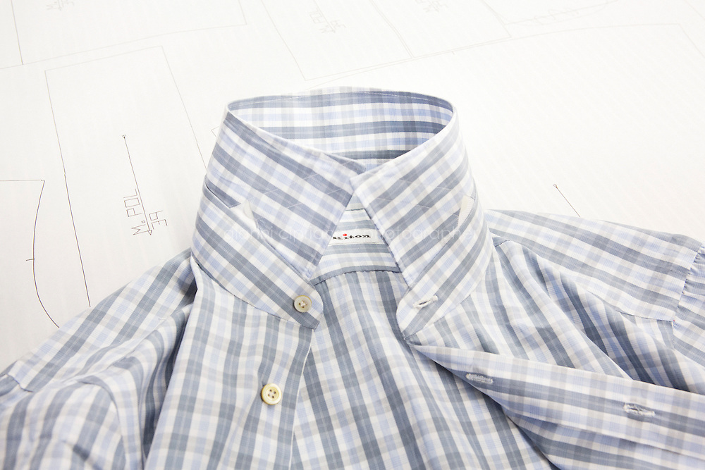 ARZANO, ITALY - 16 January 2014:  A finished shirt lays on a working table of the shirt division of the Kiton factory in Arzano, Italy, on January 16th 2014.