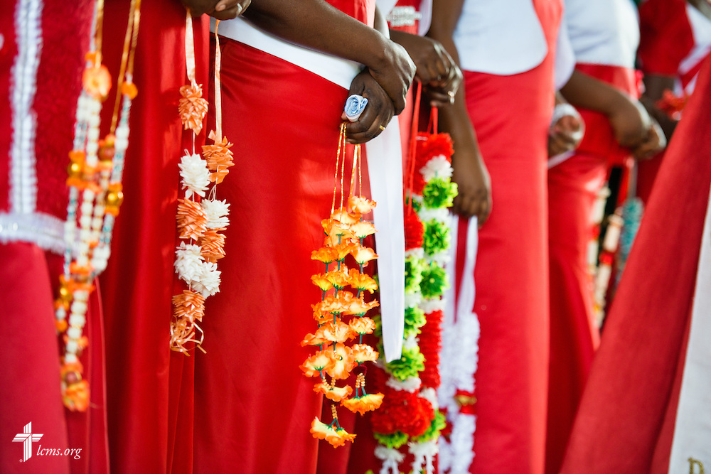 Women wait to give new pastors decorative necklaces following ordination on Sunday, March 15, 2015, at the Evangelical Lutheran Church in Tanzania – South-East of Lake Victoria Diocese's (ELCT-SELVD) Ebenezer Cathedral in Shinyanga, Tanzania. LCMS Communications/Erik M. Lunsford