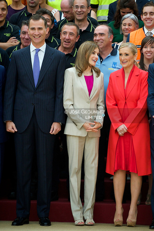 Queen Letizia of Spain attend and audience to a representation of the members of the Security Forces of State Security, Local Police and Emergency Services of the City of Madrid participants devices during acts of Proclamation of Felipe VI at Palacio del Pardo on July 30, 2014 in Madrid