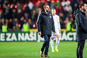 England Head Coach Gareth Southgate at full time during the UEFA European 2020 Qualifier match between Czech Republic and England at Sinobo Stadium, Prague, Czech Republic on 11 October 2019.