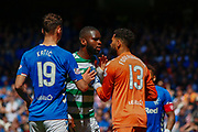 Odsonne Edouard of Celtic FC clashes with Nikola Katic  & Wesley Foderingham of Rangers FC during the Ladbrokes Scottish Premiership match between Rangers and Celtic at Ibrox, Glasgow, Scotland on 12 May 2019.