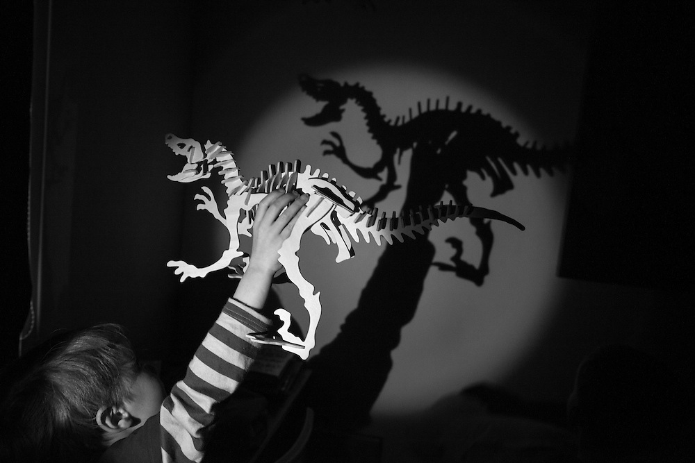 Ben plays shadow puppets with his Allosaurus model at story time before going to bed in Berkhamsted, England   Saturday, Feb. 7, 2015. Children and mothers inhabit a strange place that until a few years ago I didn't know existed. Even as I child I was oblivious to it. Now my days are spent with costumed Storm Troopers patrolling my hallways. My evenings are filled with dinners and bath times and bedtime reading and tantrums and so much else. This is my new normal, and taking pictures makes me stop and look. This project has let me see photographs where before I thought there were none. It has allowed me to see the universality of my life and how it is reflected in so many other lives. (Elizabeth Dalziel) #thesecretlifeofmothers #bringinguptheboys #dailylife