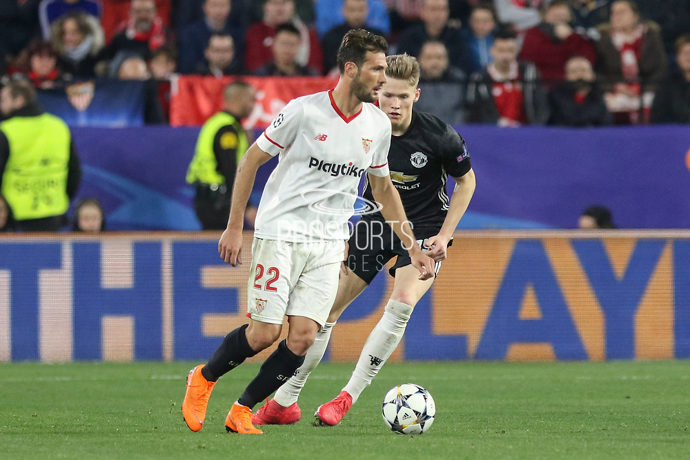 Sevilla midfielder Franco Vazquez (22) during the Champions League match between Sevilla and Manchester United at the Ramon Sanchez Pizjuan Stadium, Seville, Spain on 21 February 2018. Picture by Phil Duncan.