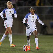 Crystal Dunn, USA, watched by team mate Allie Long, (left), during the USA Vs Colombia, Women's International friendly football match at the Pratt & Whitney Stadium, East Hartford, Connecticut, USA. 6th April 2016. Photo Tim Clayton