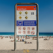 Sign on the beach of Bondi Beach