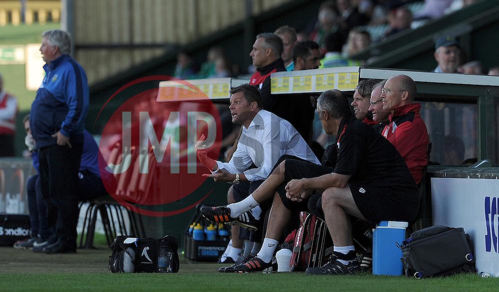 Bristol City's Manager Steve Cotterill gives instructions - Photo mandatory by-line: Harry Trump/JMP - Mobile: 07966 386802 - 30/07/15 - SPORT - FOOTBALL - Pre Season Fixture - Yeovil Town v Bristol City - Huish Park, Yeovil, England.