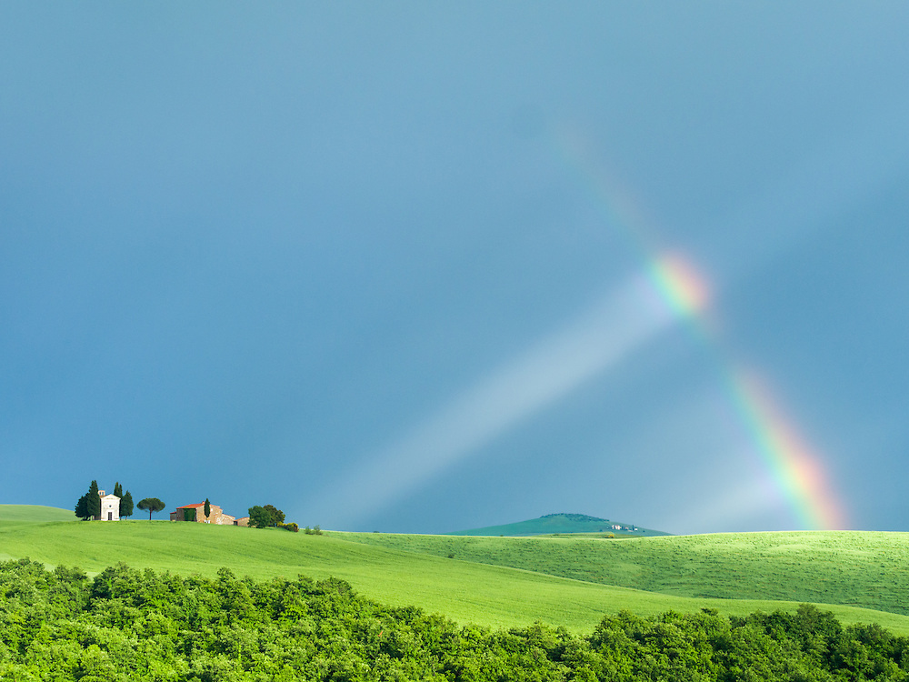 Rainbow over the Chapel of Our Lady of Vitaleta in Tuscany.