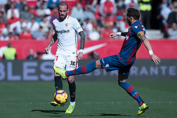 January 26, 2019 - Sevilla, Andalucia, Spain - Aleix Vidal of Sevilla FC and Morales of Levante UD competes for the ball during the La Liga match between Sevilla FC v Levante UD at the Ramon Sanchez Pizjuan Stadium on January 26, 2019 in Sevilla, Spain  (Credit Image: © Javier MontañO/Pacific Press via ZUMA Wire)