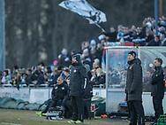 FODBOLD: Cheftrænerne Christian Lønstrup (FC Helsingør) og Kasper Hjulmand (FC Nordsjælland) på sidelinien under kampen i ALKA Superligaen mellem FC Helsingør og FC Nordsjælland den 18. marts 2018 på Helsingør Stadion. Foto: Claus Birch.