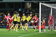 Burton Albion forward Liam Boyce (27) scores a goal and completes his hat-trick 3-0 during the EFL Cup match between Burton Albion and Morecambe at the Pirelli Stadium, Burton upon Trent, England on 27 August 2019.