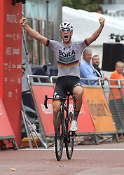 Pascal Ackermann celebrates winning the Prudential RideLondon, Surrey Classic during day two of the Prudential Ride London.
