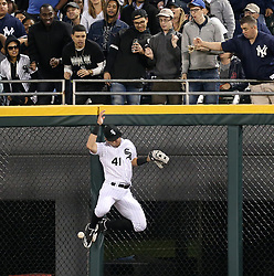 June 26, 2017 - Chicago, IL, USA - Chicago White Sox center fielder Adam Engel (41) misses the double by New York Yankees third baseman Chase Headley (12) during the sixth inning of their game at Guaranteed Rate Field Monday, June 26, 2017 in Chicago. (Credit Image: © Nuccio Dinuzzo/TNS via ZUMA Wire)