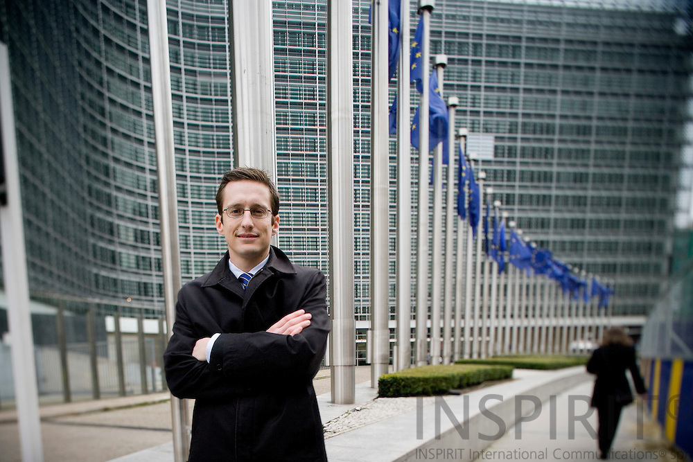 BRUSSELS - BELGIUM - 26 FEBRUARY 2009 --  Stefan PINTER, European Affairs Manager and head of Brussels Representation for OMV Aktiengesellschaft, an Austrian oil and gas corporation. Here seen with the European Commission headquarters, the Berlaymont building. Photo: Erik Luntang
