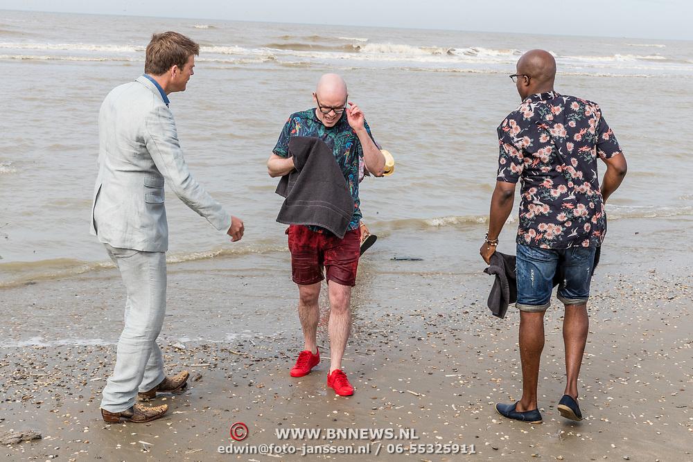 NLD/Overveen/20170330 - Gabbers presenteren nieuwe show, aankomst Jandino Asporaat, Guido Weijers, Roue Verveer en Philip Geubels en Beau van Erven Dorens