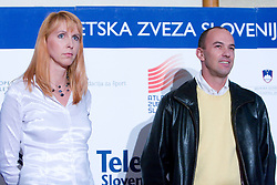 Brita Bilac and Borut Bilac at Best Slovenian athlete of the year ceremony, on November 15, 2008 in Hotel Lev, Ljubljana, Slovenia. (Photo by Vid Ponikvar / Sportida)