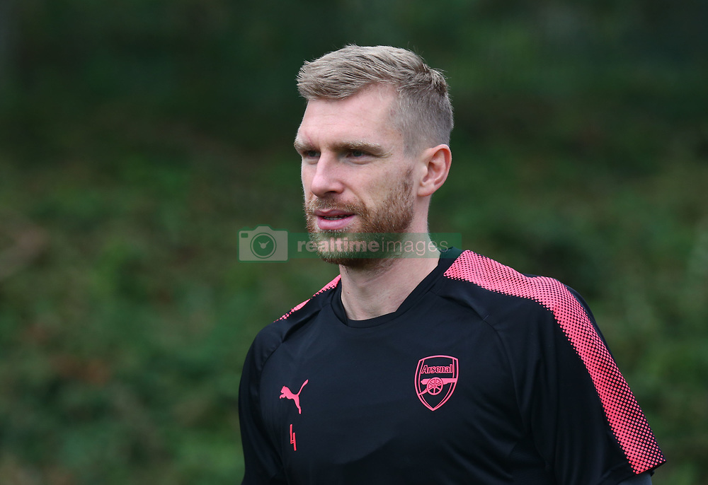 September 27, 2017 - London, England, United Kingdom - Arsenal's Per Mertesacker.during a Arsenal training session ahead of the UEFA Europa League Group H match against BATE Borisov at Arsenal training centre , London Colney on 27 Sep 2017 St.Albans, England  (Credit Image: © Kieran Galvin/NurPhoto via ZUMA Press)
