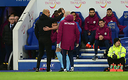 Manchester City manager Josep Guardiola consolidates John Stones of Manchester City  - Mandatory by-line: Alex James/JMP - 18/11/2017 - FOOTBALL - King Power Stadium - Leicester, England - Leicester City v Manchester City - Premier League