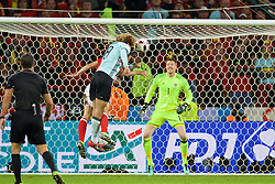 LILLE, FRANCE - Friday, July 1, 2016: Belgium's Marouane Fellaini heads wide of goalkeeper Wayne Hennessey's Wales goal during the UEFA Euro 2016 Championship Quarter-Final match at the Stade Pierre Mauroy. (Pic by David Rawcliffe/Propaganda)
