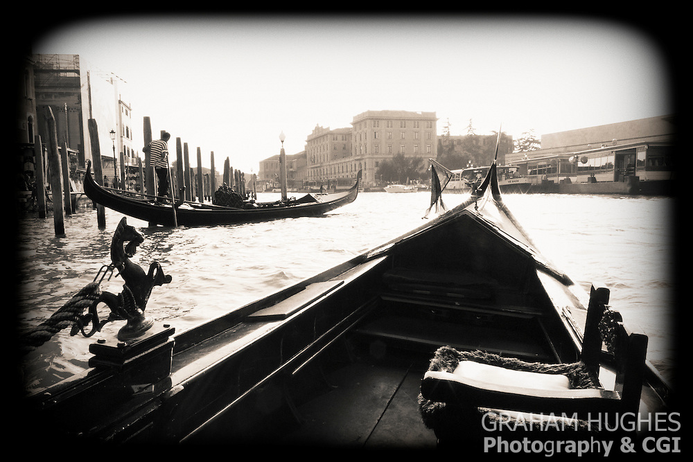 Gondolas On Grand Canal in Venice, Italy.