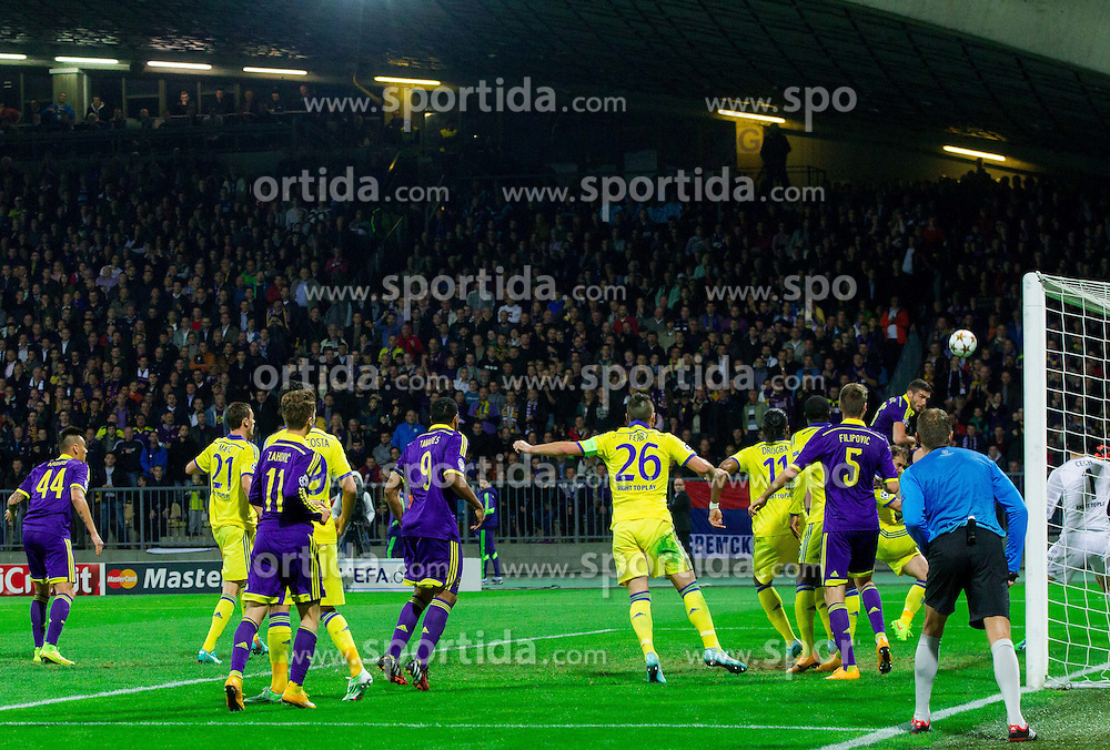Aleksander Rajcevic of Maribor vs Petr Čech of Chelsea during football match between NK Maribor, SLO  and Chelsea FC, ENG in Group G of Group Stage of UEFA Champions League 2014/15, on November 5, 2014 in Stadium Ljudski vrt, Maribor, Slovenia. Photo by Vid Ponikvar / Sportida