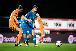 Sherida Spitse of Nederland  and Kaja Korošec of Slovenia during football match between Slovenia and Nederland in qualifying Round of Woman's qualifying for EURO 2021, on October 5, 2019 in Mestni stadion Fazanerija, Murska Sobota, Slovenia. Photo by Blaž Weindorfer / Sportida