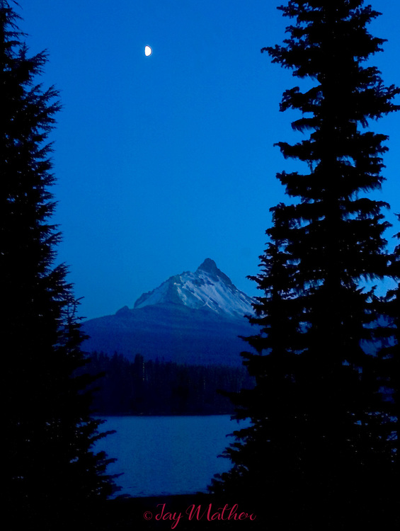 Mt. Washington seen across Big Lake on a late fall night.