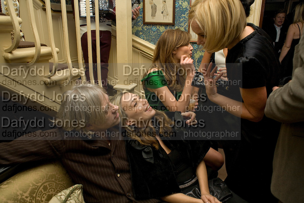 SIR BOB GELDOF, JEANNE MARINE, JEMIMA KHAN AND MARIELLA FROSTRUP , Pre Bafta dinner hosted by Charles Finch and Chanel. Mark's Club. Charles St. London. 9 February 2008.  *** Local Caption *** -DO NOT ARCHIVE-© Copyright Photograph by Dafydd Jones. 248 Clapham Rd. London SW9 0PZ. Tel 0207 820 0771. www.dafjones.com.