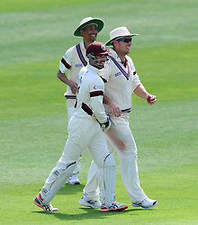 Somerset Jim Allenby celebrates catching out Yorkshire's Will Rhodes with Somerset's Alex Barrow. Photo mandatory by-line: Harry Trump/JMP - Mobile: 07966 386802 - 26/05/15 - SPORT - CRICKET - LVCC County Championship - Division 1 - Day 3 - Somerset v Yorkshire - The County Ground, Taunton, England.