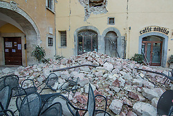Earthquake in Valnerina. In the photo: the red zone Visso, province of Macerata *** NO WEB *** *** NO DAILY
