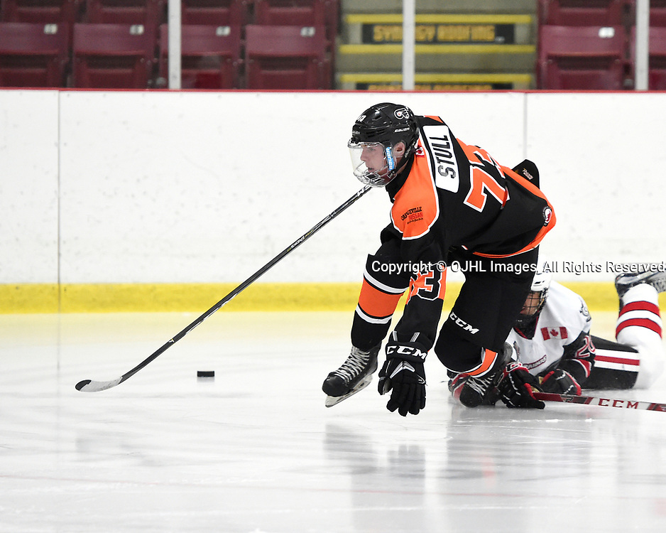 ORANGEVILLE, ON  - NOV 3,  2017: Ontario Junior Hockey League game between the Orangeville Flyers and the Georgetown Raiders, Evan Stull #73 of the Orangeville Flyers battles for control during the second period.<br /> (Photo by Andy Corneau / OJHL Images)