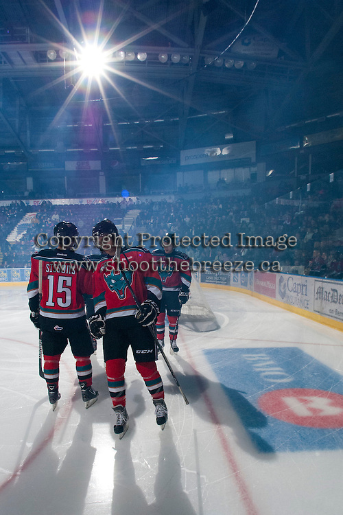 KELOWNA, CANADA - NOVEMBER 9:  Colton Heffley #25 of the Kelowna Rockets takes part in a pre-game ritual against the Red Deer Rebels at the Kelowna Rockets on November 9, 2012 at Prospera Place in Kelowna, British Columbia, Canada (Photo by Marissa Baecker/Shoot the Breeze) *** Local Caption ***