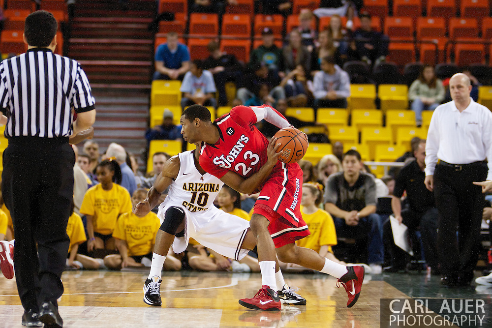 November 27th, 2010:  Anchorage, Alaska - St. John's Paris Horne (23) looks to make a play against the Arizona Sun Devil's in the Championship game of the Great Alaska Shootout.  The Red Storm would go on to beat the Sun Devil's 67-58 to capture their first Shootout championship.