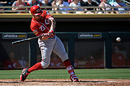 MESA, AZ - MARCH 09:  Adam Duvall #23 of the Cincinnati Reds hits a solo home run in the second inning in the spring training game against the Oakland Athletics  at HoHoKam Stadium on March 9, 2017 in Mesa, Arizona.  (Photo by Jennifer Stewart/Getty Images)