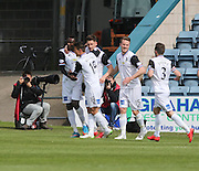 Inverness Caledonian Thistle&rsquo;s Edward Ofere is congratulated after heading home the winning goal  - Dundee v Inverness Caledonian Thistle - SPFL Premiership at Dens Park <br /> <br />  - &copy; David Young - www.davidyoungphoto.co.uk - email: davidyoungphoto@gmail.com