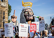 UNITED KINGDOM, London: 11 September 2015 Supporters of the campaign to NOT legalise assisted dying protest outside Parliament as the Assisted Dying Bill is debated. in London, England. Andrew Cowie / Story
