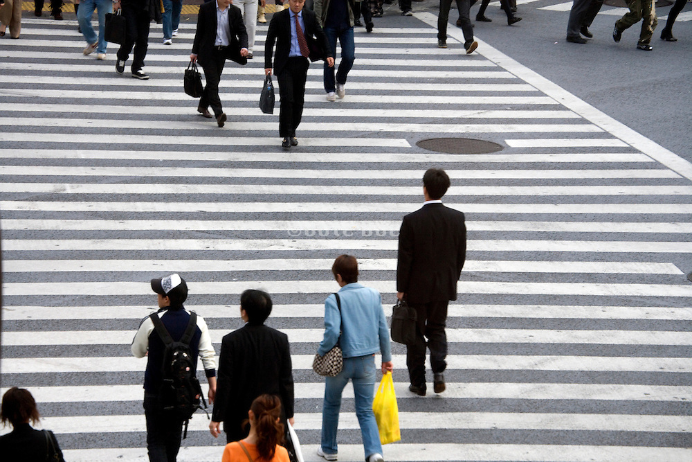 overhead view pedestrian crossing Hachiko square Shibuya Japan Tokyo