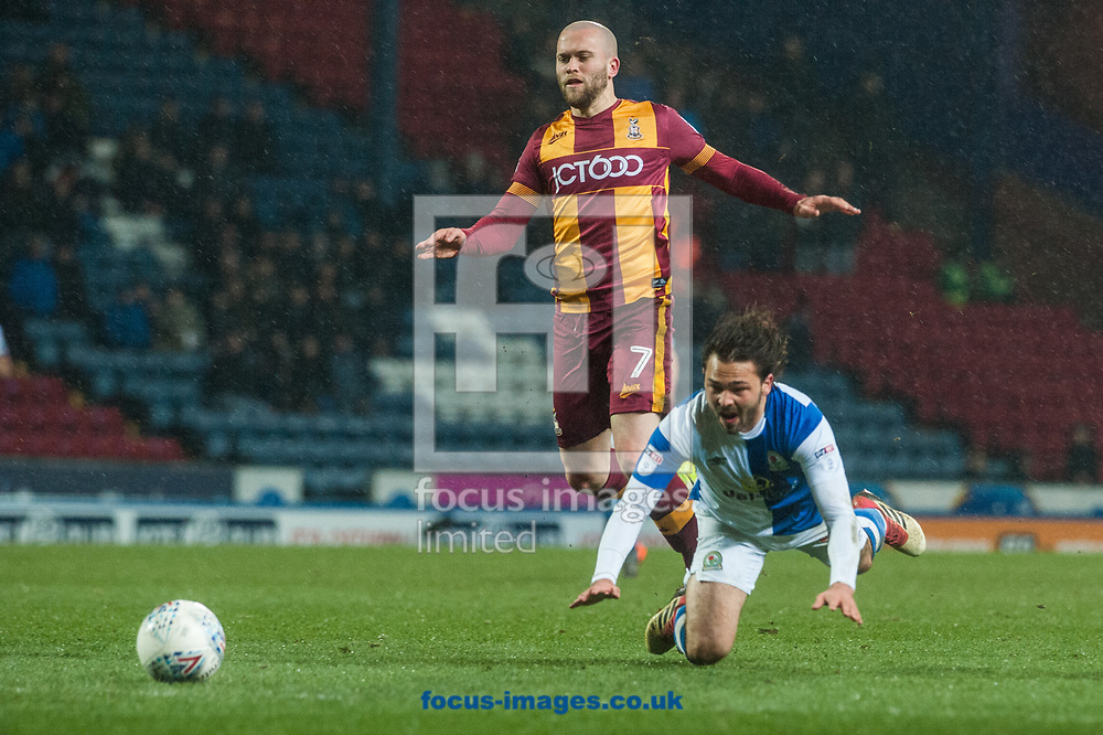 Bradley Dack of Blackburn Rovers is fouled by Nicky Law of Bradford City during the Sky Bet League 1 match at Ewood Park, Blackburn<br /> Picture by Matt Wilkinson/Focus Images Ltd 07814 960751<br /> 29/03/2018