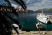 Boats moored in small harbour, Korcula old town, island of Korcula, Croatia