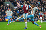 Goal Burnley forward Chris Wood (11) shoots and scores a goal to take the lead 1-0 during the Premier League match between Burnley and West Ham United at Turf Moor, Burnley, England on 30 December 2018.