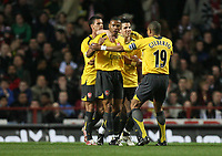 Photo: Rich Eaton.<br /> <br /> Aston Villa v Arsenal. The Barclays Premiership. 14/03/2007. Abou Diaby #2nd left celebrates scoring the first goal of the game for Arsenal