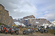 Motorcycles, road racers, Sella Pass, Dolomite Mountains, South Tyrol, Italy