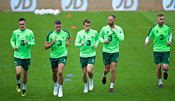 CARDIFF, WALES - Wednesday, September 5, 2018: Republic of Ireland's L-R Shaun Williams, Jonathan Walters, captain Séamus Coleman, David Meyler and Richard Keogh during a training session at the Cardiff City Stadium ahead of the UEFA Nations League Group Stage League B Group 4 match between Wales and Republic of Ireland. (Pic by David Rawcliffe/Propaganda)